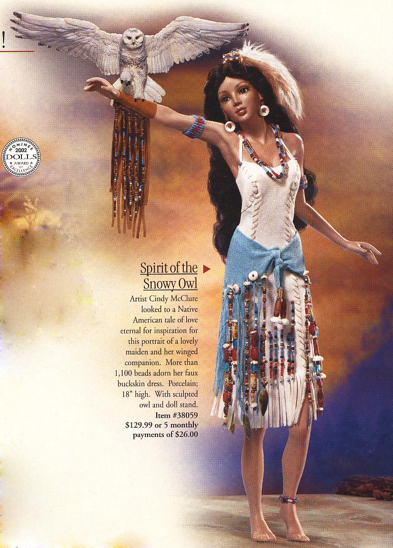 Native American Spirit of the Snowy Owl doll by Cindy McClure 2003 Ashton Drake