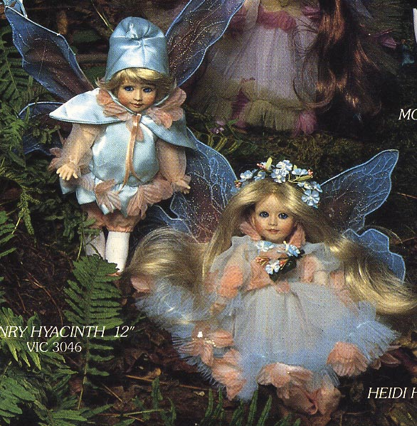 Henry Hyacinth and Heidi Hydrangia Fairy dolls by Cindy Mcclure 1988