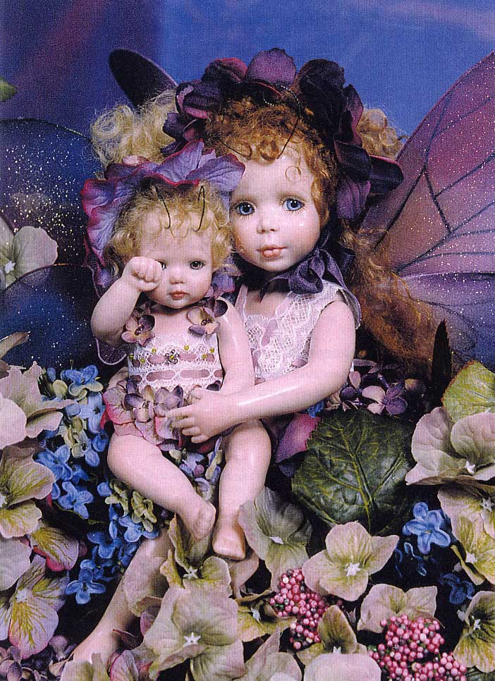 Lilac and Sweet Violet Artist Edition Fairy Dolls by Cindy McClure 1997