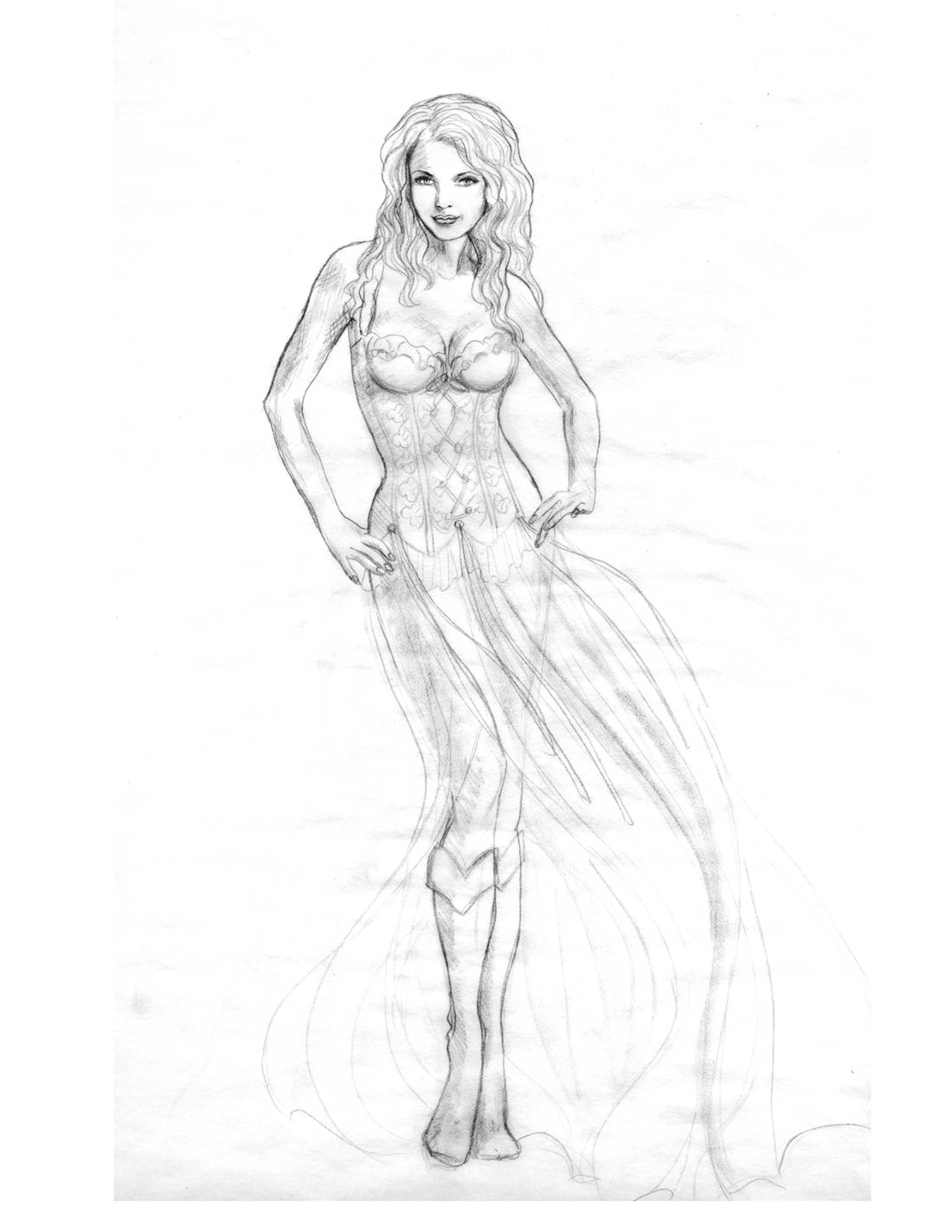 Line Drawing sketch for Biker Bride by Cindy McClure