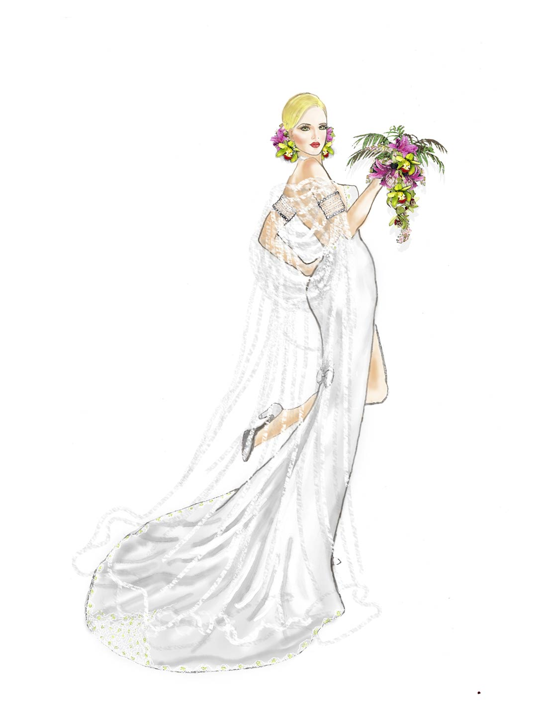 Tropical Bride Illustration Cindy McClure
