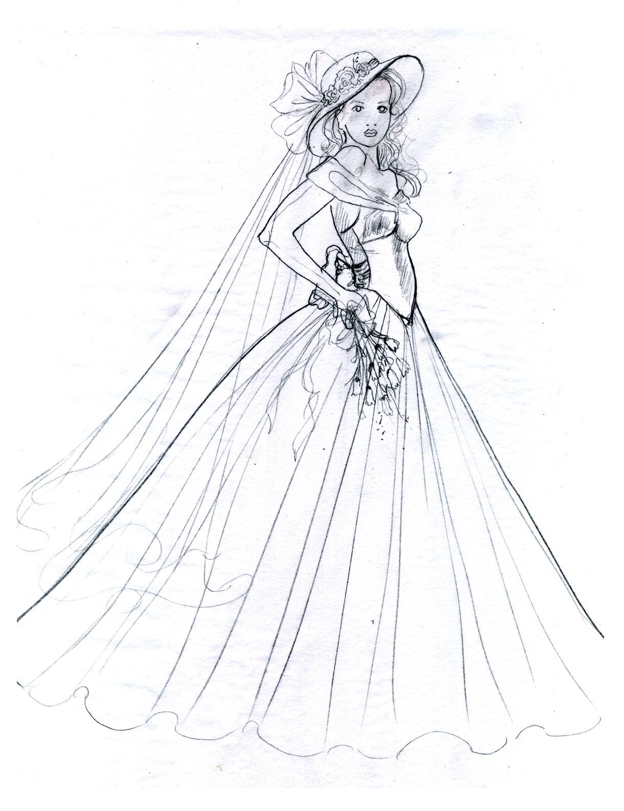 Vintage Bride 2 Sketch By Cindy McClure