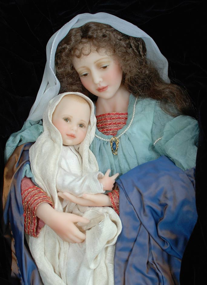 Wax Sculpt Madonna And Child The Presentation Cindy McClure RARE (10)